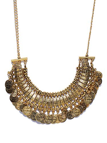 Crunchy Fashion Jewellery Oxidised Gold Plated Stylish Party Wear Bohemian Necklace for Women and Girls||Rakhi Gifts