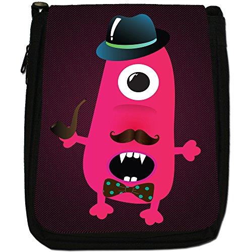 Funny Freak Hipster Trendy Monsters-Borsa a tracolla in tela, colore: nero, taglia: M Nero (One Eye Vampire Teeth Monster)