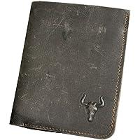 Le 'aokuu da uomo bi-fold in pelle Crazy Horse Marrone Card Case Checkbook Portafoglio Organizer