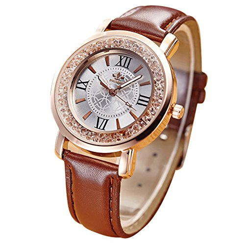 Uhren Dellin Qualität Japanisches QuarzWomen's Herren Kristall Strass Edelstahl Analog Quarz Armbanduhr (Kaffee)