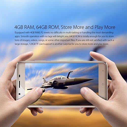"Blackview P2 - 6000mAh batería Smartphone libre Dual SIM 4G (Octa Core, 4GB RAM, 64GB ROM, cámara 13MP/8MP, 5.5 ""FHD Pantalla) Android 6.0 Móviles libres chinos - color oro"