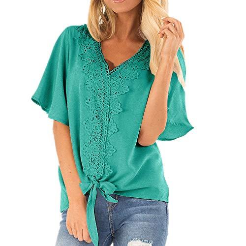 Damen Kurzarm lose T Shirt Blumendruck Tops mit Side Split Damen Casual Sommer Tops V-Ausschnitt High Low Design Grün L -