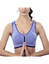 Mujer Sujetador Deportivo Sin Costuras Yoga Almohadillas Extraíbles Comodidad Frontal Cremallera Gimnasio Ropa