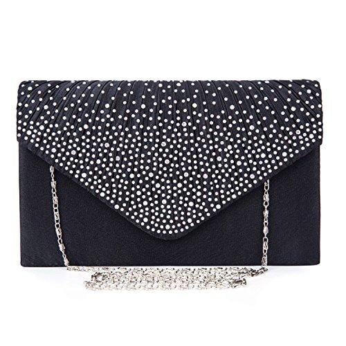 Verantwortlich Clutch Tasche Handtasche Abendtasche Edle Strass Damentasche Hochzeit Schwarz Elegante Form Taschen