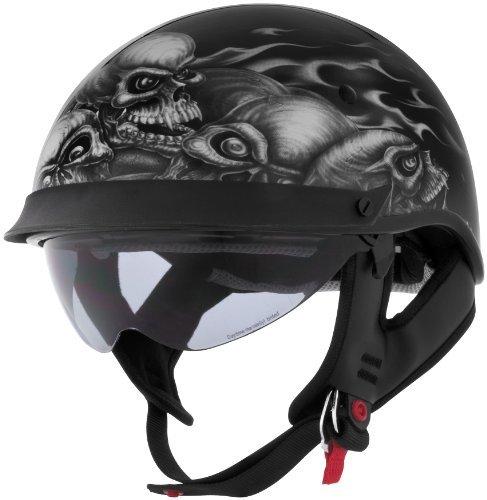 Cyber Helmets Lethal Threat U-72 Skull Pile Helmet with Internal Shield , Distinct Name: Skull Pile, Gender: Mens/Unisex, Helmet Category: Street, Helmet Type: Half Helmets, Primary Color: Blue, Size: Lg 641103 by Cyber Helmets