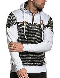 BLZ jeans - Sweat homme molleton blanc rayé et capuche