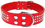 Hundehalsband von Berry mit 3Reihen funkelnden Strasssteinen, Leder