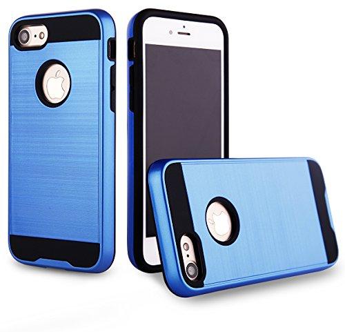 EGO® Hard Case Schutz Hülle für iPhone 7 / iPhone 8, Pink Metallic Effect Brushed Handy Cover Schale Bumper Etui Top-Qualität Blau