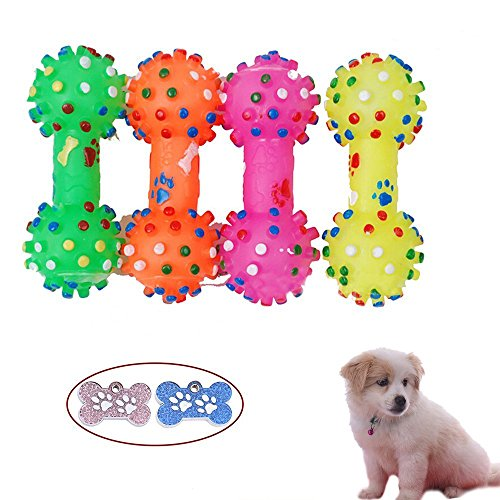Jooks Fun Hundespielzeug Kauspielzeug Spielzeug Welpen kauen Spielzeug Gummi Hund Knochen für Trainings Snackball Feeder Hund Essen behandeln Dispenser Kauspielzeug 12cm Farbe zufällig -