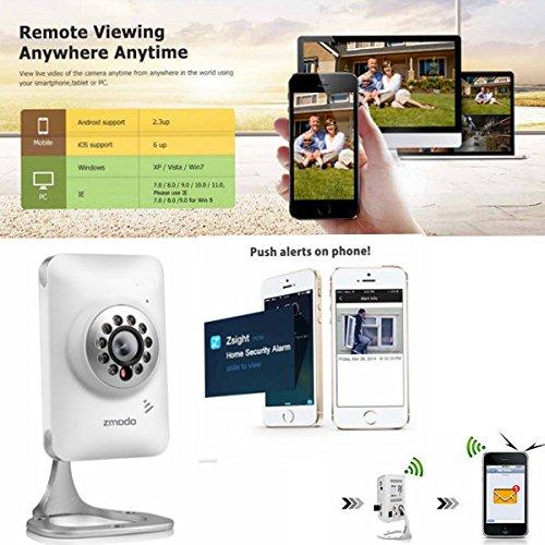 Moppi Zmodo 720p HD WiFi Mini IP Sicherheit Kamera Baby Monitor Unterstützung 64G SD Karten Speicher zwei Wege Audio 2.1 mm Objektiv (Sd-karten 64g)