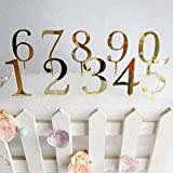 JW-online 1pc Acryl Anzahl Kuchen-Deckel Gold Mirror Geburtstags-Kuchen-Deckel für Geburtstag Hochzeitstag-Partei-Kuchen-Dekorationen DIY,Anzahl 0