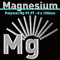 Magnesio de electrodo 100x 8mm, MG 99,97% pura, magnesio–Varilla, (Barra ánodo, magnesio pura, lápiz ánodo