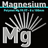 Magnesio de electrodo 100 x 8 mm, Mg 99,97% pura, magnesio - Varilla, (Barra ánodo, magnesio pura, lápiz ánodo, 1