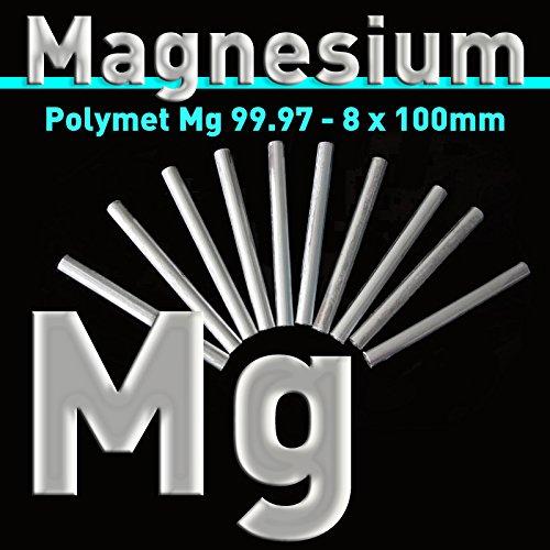 10 Stück Magnesium-Rundstäbe 100 x 8mm, Mg rein 99,97%, Magnesiumstab, Stab Stange Anode, Reinmagnesium, Stiftanode, Elektrode