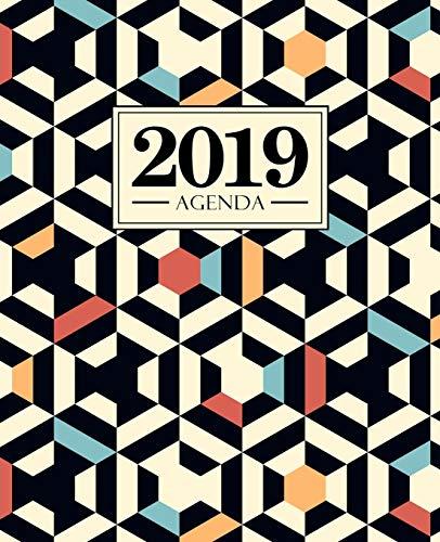 Agenda 2019: 190 x 235 mm : Agenda 2019 semana vista español : 160 g/m²: patrón geométrico rojo azul y negro 7177