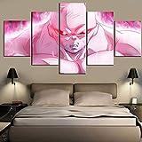 WLQQ Wohnkultur Wandkunst Leinwanddrucke Dragon Ball Bild auf Leinwand Abstrakte Leinwandbild 5 Stücke Poster Malerei Gerahmte Fertig zum Aufhängen,A,30x40x2+30x60x2+30x80cmx1
