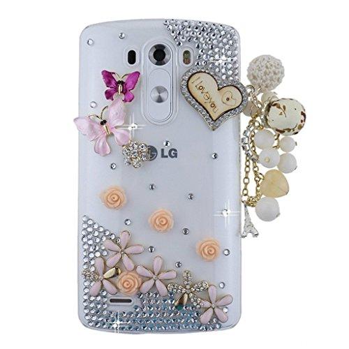 spritech (TM) LG G Stylo Hard Case, Bling Kristall 3D Handmade Strass Design Transparent Phone Cover, metall, pattern 5, LG G Stylo (Lg Optimus L90 Hard Phone Case)