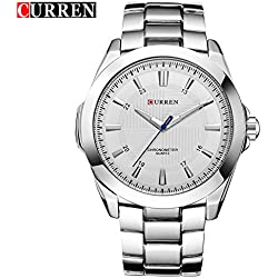 CURREN Men's Fashion Sports Quartz Analog White Stainless Steel Strap Wrist Watches 8109G