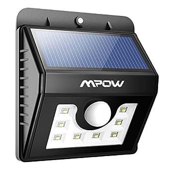 mpow bewegungsmelder mit 8 led leuchten wasserdicht solar leuchten f r sicherheit im. Black Bedroom Furniture Sets. Home Design Ideas