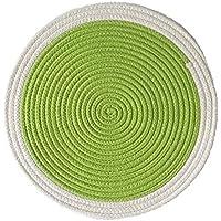 SDHF Mantel individual Multicolor Ronda de algodón Posavasos Inicio de aislamiento Mat/cojín de la tabla de tela impermeable Accesorios de cocina Decoración Hogar (Color : Verde, Size : 36cm)