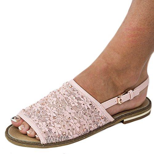 Damen Sandalen Sandaletten mit Netz Glitzer Spitze JA10 Pantoletten Pink/Rosa