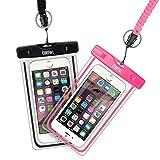 EOTW 2 Stück Wasserdichte Handy Hülle, Wasser- und staubdichte Hülle für iphone, Samsung, Nexus, HTC und mehr, Super Hülle für den Strand und Wassersport, Schwarz+Pink