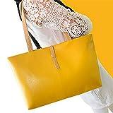 meizu88 Lady Women Faux Leather Handbag Shopping Shoulder Bag Purses-Yellow