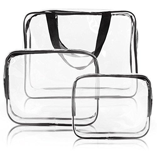 Gluckliy 3 Stück Transparente Kulturbeutel Kulturtasche PVC Make Up Kosmetiktasche mit Reißverschluss Reise Organizer (Schwarz) (3 Pvc-gepäck-set Stück)