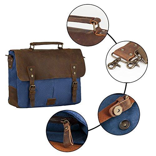 """P.KU.VDSL Borsa del messaggero, tela di canapa in cuoio spalla per 14 """"laptop PC blu"""