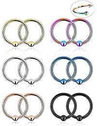 20G 12 Pieces Nose Rings Hoop Lip Eyebrow Tongue Tragus Cartilage Septum Piercing Ring