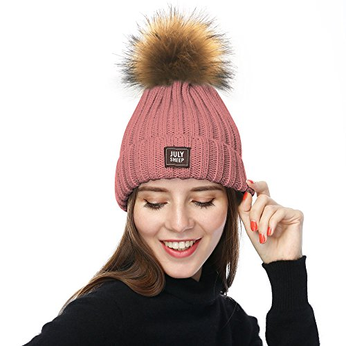 JULY SHEEP Womens Mädchen Winter Hut Wolle gestrickte Beanie Rib Strick Hut Faux Pom Pom Bubble Hut (Mädchen Rib Cap Knit)
