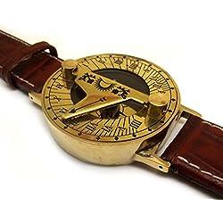 Dark Tan Steampunk Sundial Compass Wrist Watch. Antiquated Brass with Classic Leather Bracelet