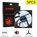 Quiet Edition 120mm LED Case Fan, Big 4 Pin & 3 Pin Connector for Mining Rig Case Open Air Frame, CPU Coolers,Radiators System (Blue, 5 Piece)