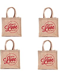 H&B Beige Colored Jute Handbag / Quality Lunch Bag / Gift Bag / Jute Stylish Lunch Bag / Combo Offers Of Jute... - B0792T5GY5