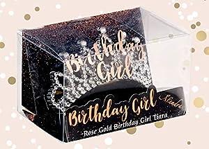 Alandra Birthdays cumpleaños para niña en Caja de Oro Rosa, Color (Alandra Products Ltd Tiara-BG)