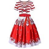 VEMOW Herbst Mode Elegant Damen Abendkleid Frauen V-Ausschnitt Bänder Frohe Weihnachten Weihnachtsmann Print Party Dating Midi Kleid(X1-Rot, EU-36/CN-L)