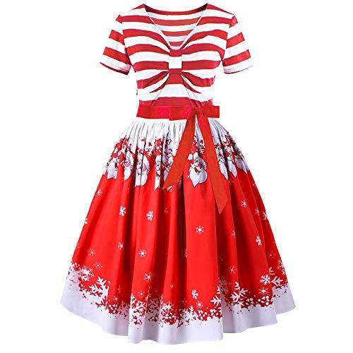 VEMOW Herbst Mode Elegant Damen Abendkleid Frauen V-Ausschnitt Bänder Frohe Weihnachten Weihnachtsmann Print Party Dating Midi Kleid(X1-Rot, EU-38/CN-XL)