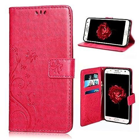 Housse Samsung J3, SpiritSun Etui en PU Cuir Portefeuille Coque pour Samsung Galaxy J3 Fleur et Papillon Modèle Case avec Fonction Support Stand + Stylet et Bouchon Anti-Poussière - Rouge