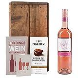 """DKDS Collection """"to go""""-Geschenk mit Pinot Noir Rosé, Hachez Edel-Vollmilchschokolade, Wein-Buch und Geschenkkarte (1 x 0.75 l)"""