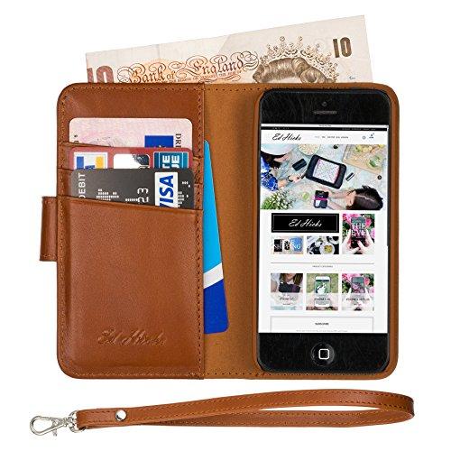 Ed Hicks iPhone SE Premium Leder Wallet Case - Full Cash Pocket - iPhone 5S 5 Flip - Strap - Cognac Brown