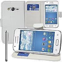 VCOMP - Funda tipo cartera para Samsung Galaxy Trend 2 Lite SM-G318H (piel sintética, función atril), compatible con Samsung Galaxy Trend