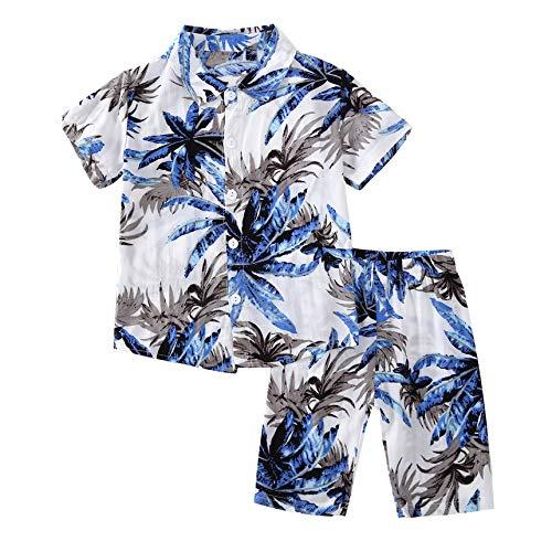 FindeGo Sommer-Blätter gedruckt Baby-Kurzarm-T-Shirt und Shorts Junge Kleidung Set Männern Großer Baum-Druck-Hemd + Hose Blau Set - 90 Meter -