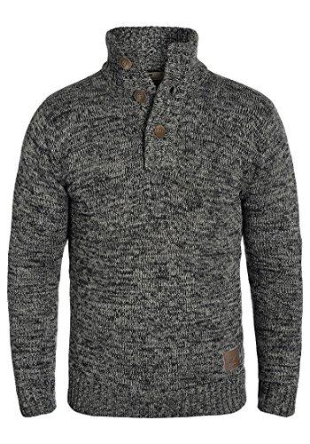 SOLID Philario Herren Strickpullover Troyer aus 100% Baumwolle Meliert Black (9000)