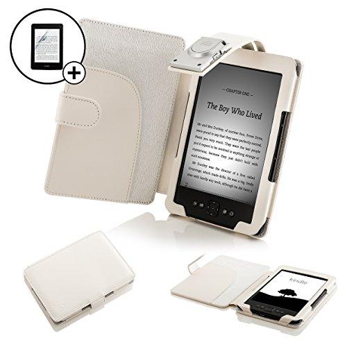 Forefront Cases Leder-Schutzhülle mit LED-Leselampe und Displayschutzfolie, für Amazon Kindle 4, Blau weiß weiß Kindle 4