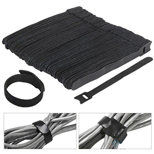 VORCOOL Crochet 100pcs attache-câbles 6 pouces fissazione attache-câbles avec réutilisables et boucle d'Attache-câbles sangle pour l'organisateur de fissazione (noir)