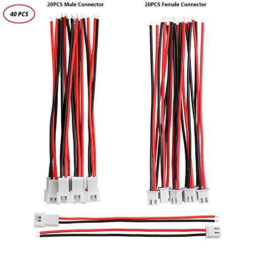 Hyber&Cara 1,25mm JST PH 2.0 2 Pin Stecker und Buchse Micro Stecker mit 10cm 22 AWG Elektrischer Draht Silikon isoliert für RC Spielzeug LiPo Batterien LED Lichtstreifen 40 Stück