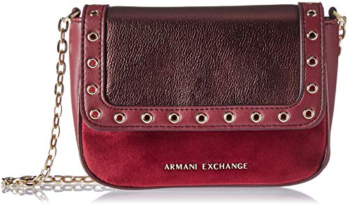Armani Exchange Damen Small Cross Body Bag Umhängetasche, Violett (Wine Tasting), 13.0x6.0x19.0 cm