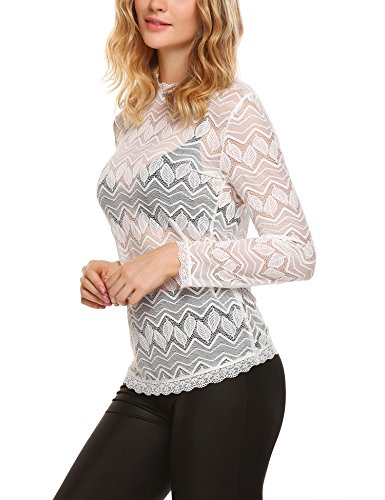 BeautyUU Damen Spitzen Shirt Langarmshirt Spitzenbluse Lace Spitzenshirt Tunika Casual Oberteil 1-Weiß