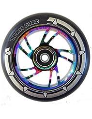 Único equipo Dogz Rainbow Neochrome núcleo de aleación de 110mm patinete rueda ABEC con sintética y mixtos, Rainbow Core, Black PU