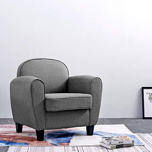Anaelle Pandamoto Canapé Sofa Tissu de lin Moderne Chaise Fauteuil Canapé pour Salle à manger, Salon, Bureau, Taille: 85 x 73 x 85cm, Poids: 16kg, Gris